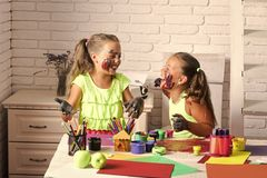 Kids learning and playing stock photo