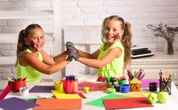Kids learning and playing stock photography