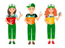 Kids learning recycle trash. Waste recycling volunteers boy and girls. Kids learning recycle trash vector illustration. Waste recycling volunteers boy and girls Stock Photography