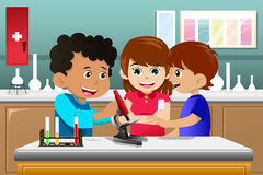 Kids learning science in a lab. A vector illustration of kids making science experiment in a lab Stock Photos