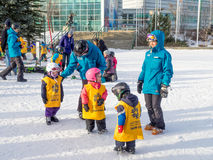 Kids learning to ski at Canada Olympic Park. CALGARY, CANADA - MAR 1: Kids learning to ski at Canada Olympic Park on March 1, 2015 in Calgary, Alberta Canada Stock Photography
