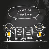 Kids learning together. Reading a book. Kids with speach bubble, chalk on blackboard hand drawn doodle style vector illustration Royalty Free Stock Images