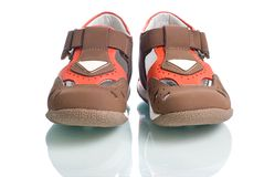 Kids leather shoes. Royalty Free Stock Image