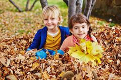 Kids in leaves Royalty Free Stock Photos