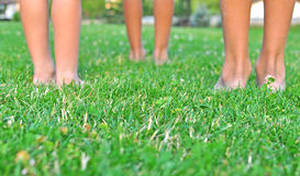Kids legs on the grass Royalty Free Stock Photo