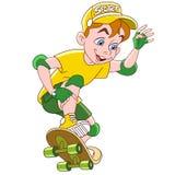 Cartoon boy ridding a skateboard stock photo