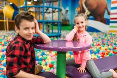 Kids leisure, children in entertainment center Stock Photos