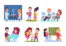 Kids in lessons. School children learning geography and chemistry, biology and math. Cartoon vector characters set stock illustration