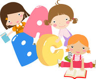 Kids and letters. Three cartoon girls holding ABC letters royalty free illustration