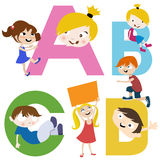 Kids with letters. Illustration vector Royalty Free Stock Photos