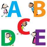 Kids with letters a-e. Funny kids with letters isolated on white background. set-1 Royalty Free Stock Photo