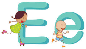 Kids in the letters series Stock Photos