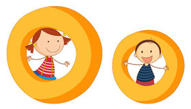 Kids in the letters series Royalty Free Stock Image