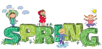 Kids on the letters spring Royalty Free Stock Photo