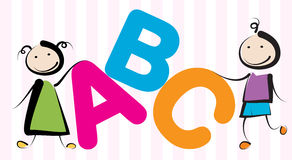 Kids with letters. Two kids with abc letters Royalty Free Stock Photos