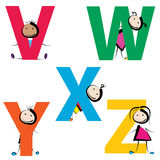 Kids with letters v-w. Funny kids with letters isolated on white background. set-5 stock illustration