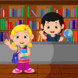 Kids in a Library. Illustration of Kids in a Library royalty free illustration