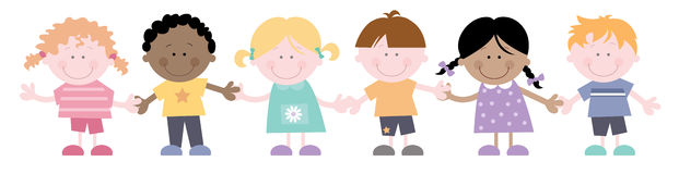 Kids in a Line Holding Hands Stock Images