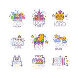 Kids line logo set. Paint palette with brush, castle, cat, rollers, rainbow with clouds, robot, cake with gifts, drawing. Kids line logo set. Colorful objects Stock Photos