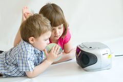 Kids listening royalty free stock images