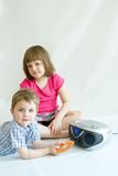 Kids listening stock photos