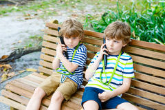 Kids listening to audio guide on excursion Royalty Free Stock Images