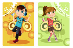 Kids listening to music. A vector illustration of a boy and a girl listening to music Royalty Free Stock Image