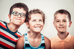 Kids little girl and boys making silly face expression. Royalty Free Stock Photo