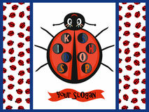 Kids logo with ladybug. Baby logo with ladybug. Seamless pattern with ladybugs Stock Photo