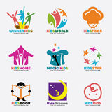 Kids logo vector creative concept art set design Royalty Free Stock Images