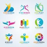 Kids logo vector creative concept art set design Stock Photos
