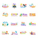 Kids logo vector set. Logo collection of kids club, land, playground, zone, hobby, arts.  Vector icons and symbols set of child Stock Photo