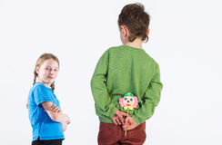 Kids with lollipops Stock Images
