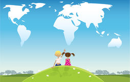 Kids looking at clouds. Two kids looking at the clouds of continents shape vector illustration