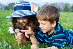 Kids looking to dandelion with a magnifying glass Royalty Free Stock Images