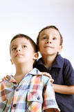 Kids looking up Stock Photo