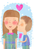 Kids in love. Boy kisses girl and presents her a flower Stock Images