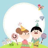 Kids love B. Illustration of a cute boy and girl having candies Stock Photography