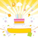 Kids love it- birthday party. Kids birthday party vector illustration with birthday-cake, presents, candies and a nice banner for your text Stock Images