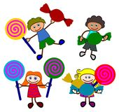 Kids love candies Stock Images