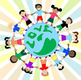 Kids Love Globe. Children from all around the world sharing, showing love and holding hands. Children from America, Africa, Asia, Australia, Caribbean and Middle Stock Photo