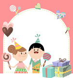 Kids love A. Illustration of a cute boy and girl having candies and gifts Stock Images