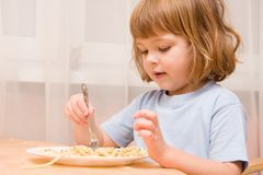 Kids love pasta Royalty Free Stock Images