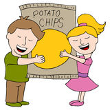 Kids Love Potato Chips Royalty Free Stock Photography