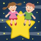 Kids in Love Sitting on a Star. Two kids in love sitting on a star. Eps file available Stock Photo