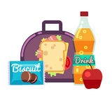 Kids lunch box, bag with snacks, meal and beverages vector stock Royalty Free Stock Photo