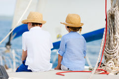 Kids at luxury yacht Royalty Free Stock Images