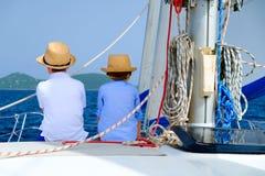 Kids at luxury yacht Stock Photo