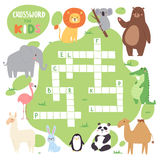 Kids magazine book puzzle game of forest animals logical crossword words worksheet colorful printable vector Stock Photo