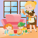 Kids and maid cleaning the house Royalty Free Stock Images
